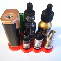 Wismec Predator 228 vape stand with 24.5mm atomizer, juice and battery holder